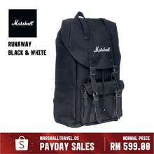 Marshall Runaway Backpack (Black White) - 25L Durable Nylon Water Resistant Outdoor Travel Laptop Bag With Bottle Holder