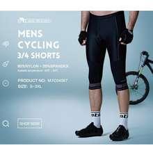 Santic Men Cycling Shorts Coolmax 4D Pad Shockproof Covering Knee Anti-Pilling Biking Short Pants