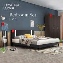 Furniture Farm: Bedroom Set Jules Queen Divan Bed Frame With 3 Door Wooden Wardrobe / Dressing Mirror