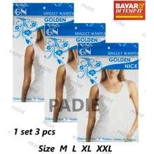 Golden Nick PADIe - 3 PCS Kaos Dalam   Singlet Wanita AT 48 27867eb87b