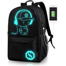 Luminous Tas Ransel Sekolah USB Charger Backpack Tas laptop Anti Maling Tas Fungsi TCR03