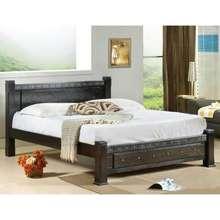 Furniturerun M918 Wenge Wooden Queen Bed Frame