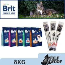 Brit Premium Cat Food 8Kg Free Premium Pouch 100G X2 - (Chicken Adult, Sensitive Lamb, Kitten, Salmon Adult)