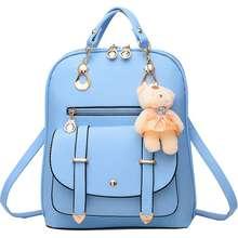 Amart เด็กผู้หญิงสมาร์ทสบายๆหนังเทียมกระเป๋านักเรียนกระเป๋าตุ๊กตาหมีตุ๊กตาหมี (สีฟ้า)