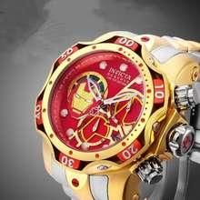 Invicta 【Ready Stock】Marvel Iron Man Red Fashion Waterproof Hot Block Quartz Men'S Watch