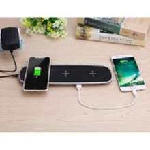 Qi [Original] 3 Coils Wireless Charging Pad with 2 USB Ports Charge 5 Devices Simultaneously for iPhone X iPhone 8 plus Samsung Galaxy S8 Plus and More AC Adatper Included