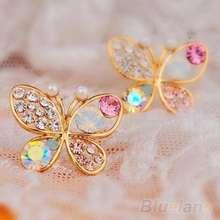 Amefurashi Anting Korea Ladies Lovely Crystal Rhinestone Butterfly Stud Earring
