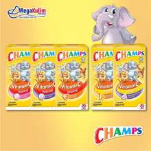CHAMPS Vitamin C 30Mg / 100Mg Chewable 100 Tablets (Strawberry/Blackcurrant/Orange Flavoured)