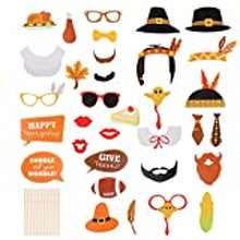 DIY Stobok 2 Sets Tnanksgiving Day Party Photo Booth Props Supplies Party Frame Photo Prop Diy Paper Picture Frame Cutouts Photo Booth Props For Harvest Festival Party