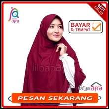 Afra Jilbab Instan beria murah bahan kaos adem warna merah marun / Jilbab Beria - BERIA MERAH MARUN