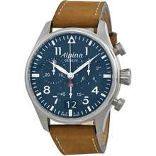 Alpina Startimer Pilot Chronograph Blue Dial Mens Watch AL 372N4S6