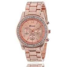 GENEVA Steel Belt Elegant Quartz Diamond Chronograph Crt Women'S Watch- 3 Option
