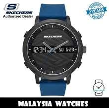 SKECHERS (Official Warranty) Sr5072 Men Lawndale Analog Digital Metal Case Blue Silicone Strap Watch (2 Years Warranty)