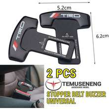 trd Sepasang 2Pcs Seat Belt Car Buzzer Stopper Mobil Klip Clip Penghalang Bunyi Sensor Alarm Seatbelt Logam Aksesoris Interior Sabuk Manual Matic