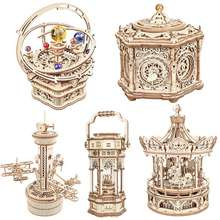 Robotime Rokr Music Box 3D Wooden Puzzle Game Assembly Model Building Kits Toys For Children Kids Birthday Gifts Amk