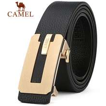 Camel Men'S Leather Automatic Buckle Belt Reversible Strape For Men Waist With Gift Box (105-130Cm)