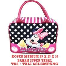 BGC Travel Bag Kanvas Mini + Selempang Minnie Mouse - Black Polkadot