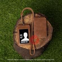 Magnet Lanyard Kulit Id Card Holder Name Tag Kulit Front Coklat
