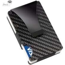 Amart [มีเก็บเงินปลายทาง] Slim คาร์บอนไฟเบอร์บัตรเครดิตซองใส่บัตร RFID Non - Scan กระเป๋าสตางค์โลหะเงินกระเป๋าเงินแบบหนีบ - INTL