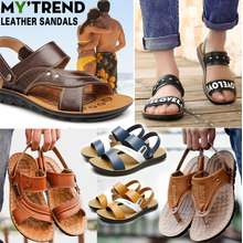 e6fdd1a9796e Color life 2019 Mens leather sandals Casual slippers Beach shoes Korean  fashion Non-slip Breathable