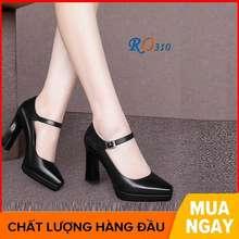 Rosata Giày Sandal Nữ Cao Gót 7 Phân Hai Màu Đen Đỏ Hàng Hiệu Ro310