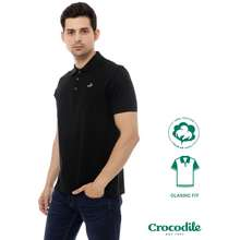 Crocodile Clas Black - Baju Kaos Kerah Pria Men Polo Original - Classic Fit - Bahan Katun