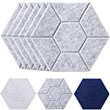 3d Jardeon Hexagonal 3D Acoustic Panels Silver Grey Soundproofing Decorative Wall Tiles, Shield Carving Exclusive Design, 14'' X 12'' X 0.4'', 6 Pack