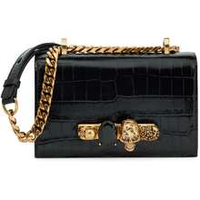 Alexander McQueen Jewelled Satchel Mini croc-effect crossbody bag