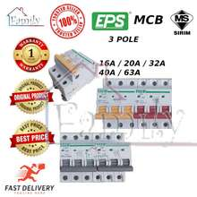 EPS 3Pole (6Ka) Mcb 16A, 20A , 32A , 40A And 63A Miniature Circuit Breaker (Sirim Approve)