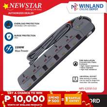 Newstar Surge Protector Power Extension Cord W/ Individual Switch 5 Outlet 3M Nps-525Sf/3.0 *Winland