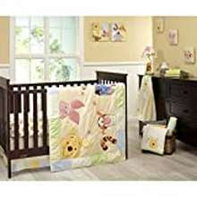 """Winnie The Pooh Disney Winnie The Pooh Peeking Pooh 7 Piece Nursery Crib Bedding Set - Appliqued/Textured Quilt, 2 100% Cotton Fitted Crib Sheets, Crib Skirt With 16"""" Drop, 3 Soft Wall Hangings"""
