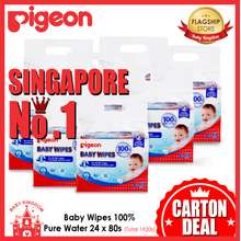 Dimana Beli NUK Tissue Baby Wipes 80S Value Pack 3 Packs di Source · Pigeon Pigeon Baby Wipes 99 Purewater 82s x 3 packs CARTON DEAL 24 packs