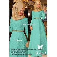 Ladies Fashion Gamis Remaja Polos Murah GRATIS PASMINA Dan BELT   Dress  Pesta Gamis Model Baru 36ef9fc8c4