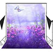 Butterfly 6X9Ft Fairytale Background Purple Flowers And Butterfly Photography Backdrop Photo Studio Props Room Mural Bjqqfu217
