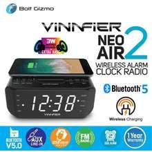 Vinnfier Neo Air 2 Wireless Charging Portable Bluetooth 5.0 Speaker With Smart Led Alarm Clock Fm Radio