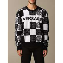 Versace Sweater Wool-blend Pullover With Checkered Jacquard Medusa Logo