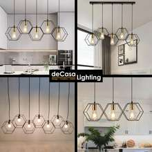 DECASA RECTANGLE CEILING PENDANT LIGHT NEW ARRIVAL 5 HEAD SIMPLE AND NICE BLACK GOLD LOFT HANGING LAMP LAMPU GANTUNG (5275-5)