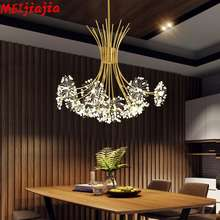 Modern Art Deco Led Crystal Hardware Chandelier Dandelion Golden Hanging Lamps Decorative Light Fixture Lighting Led Home Lights