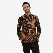Batik Semar Kemeja Lengan Panjang Pria Batik Peksi Sinanding Bunga