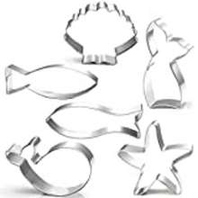 Ocean Kanntie 6-Piece Ocean Cookie Cutter Set With Mermaid Tail, Starfish, Seashell,Whale And Fish