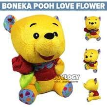 Winnie The Pooh Boneka Karakter Love Flower - Stuffed Plush Doll Bunga 10 Inch