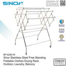 Sinor (EXTRA LARGE) STAINLESS STEEL FREE STANDING FOLDABLE CLOTHES DRYING RACK