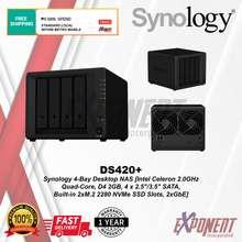 """Synology Ds420+ - 4-Bay Desktop Nas [Intel Celeron 2.0Ghz Quad-Core, D4 2Gb, 4 X 2.5""""/3.5"""" Sata, Bui"""