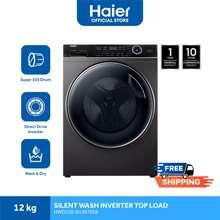 Haier Hwd120-Bp14876 12 Kg Washer & 8Kg Dryer Silent Wash Front Load Inverter Series Washing Machine