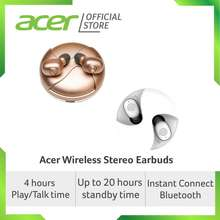 Acer Wireless Stereo Earbuds (Gold/White) with up to 4 hours of use time