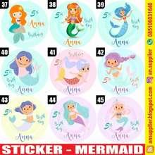 mermaid 60 Stiker Label Bag Kue Souvenir Ultah Ulang Tahun