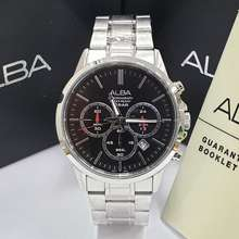 Alba jam tangan pria at3b87 silver black original 07f7b99781