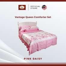 Vantage Pink Daisy Queen Comforter Set (7Pcs)