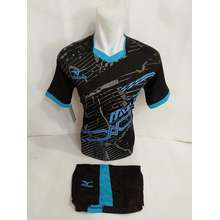 Jersey Baju Kaos Olahraga Bola Setelan Futsal/Volly Mz Hitam Biru