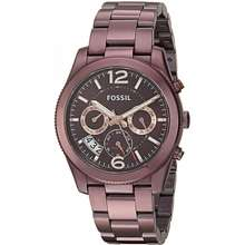 Fossil Authentic Women'S Perfect Boyfriend Wine Tone Multi Function Dual Time Watch Es4110